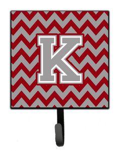 Letter K Chevron Crimson and Grey Leash or Key Holder CJ1043-KSH4