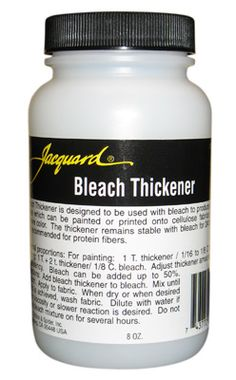 Add to regular bleach to thicken it so you can paint it on clothing for discharging. Holds up better than Alginate or Monogum. Painting Tips, Fabric Painting, Fabric Art, Fabric Crafts, Arts And Crafts Supplies, Hobbies And Crafts, How To Dye Fabric, Dyeing Fabric, Polymer Clay Animals