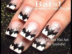 Subscribe and see new nail art tutorials from my Nail Shop 3 times a week!!!! Nail Art | Black and White Easy Halloween Nails | Bats or Cats Design Tutorial ...