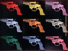 Andy Warhol - Andy Warhol Gun 1982 Painting