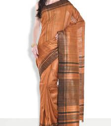 Buy Orange hand_woven handloom saree with blouse handloom-saree online