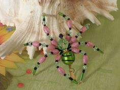 Peridot August Bithstone Pink Birthday Gift Beaded Tarantula Lampwork Spider | eBay