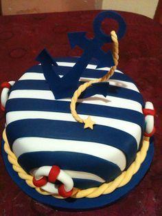 torta de cumpleaños marinera Sailor Birthday, Sailor Party, Baby Birthday, Baby Shower Cakes, Baby Shower Themes, Baby Boy Shower, Nautical Cake, Nautical Party, Anchor Cakes