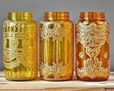 Boho Wedding Decor Henna Wedding Mason Jar Lantern by LITdecor