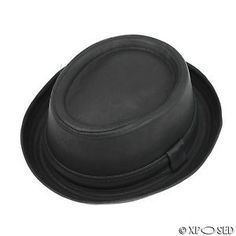 Unisex-Pork-Pie-Trilby-Hat-Black-Faux-Leather-Breaking-Bad-Heisenberg-Style