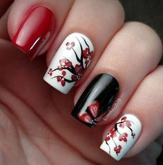 Black And Red Nail Designs Picture 101 splendid red nail art designs to say im hot Black And Red Nail Designs. Here is Black And Red Nail Designs Picture for you. Black And Red Nail Designs black and red nails with pearls acrylic ros. Red Nail Art, Cute Nail Art, Red Nails, Cute Nails, Pretty Nails, Red Manicure, Asian Nail Art, Cherry Nail Art, Red And White Nails