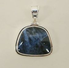 SOLID 925 STERLING SILVER 23mm x 30mm DARK BLUE STONE PENDANT FOR NECKLACE 16.8g