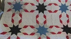 RARE Touching Feathered Lemoyne Star Quilt Ditsy Shirting Prints Patriotic | eBay