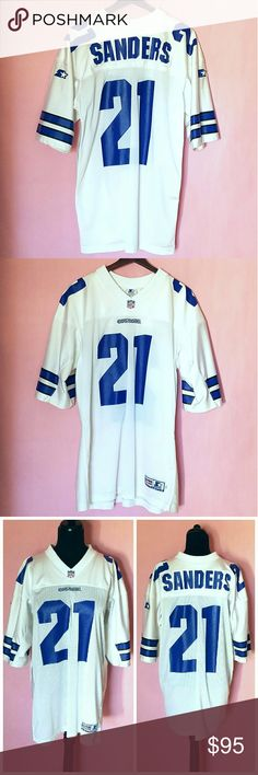 """Deion Sanders Starter Jersey Authentic 1995 Dallas Cowboys Starter jersey. In great pre-owned condition. No rips or holes and no wear on the screen printed numbers, letters and sleeve, only numbers on back have slight cracking. Slight staining on the left arm (see pics). Measures 31"""" from top to hem, 23"""" from armpit to pit, 12"""" sleeve from shoulder. 100% Nylon. Size Adult 52 / XL. STARTER Shirts Tees - Short Sleeve"""