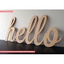 Hello, διακοσμητική πινακίδα , λέξη , ξύλινη