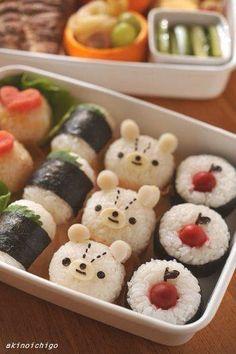 cute onigiri Post your bento pics with in the description and… Japanese Bento Box, Japanese Food Art, Japanese Sweets, Cute Bento Boxes, Bento Box Lunch, Bento Kawaii, Cute Food, Yummy Food, Kreative Snacks