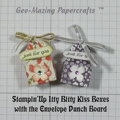 """2015 VIDEO Created by Jeanette Savina Becerra Cobb. These teeny tiny little boxes are small enough for one Hershey Kiss. So fun to make and I only used a 3"""" X 3"""" square of Designer Series Paper and the Envelope Punch Board. What sweet way to deliver a """"Kiss"""". www.youtube.com/watch?v=S_l_61mScw8&app=desktop"""