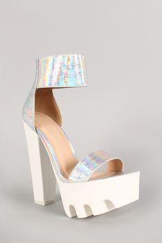 Wild Diva Lounge Hologram Open Toe Lug Sole Platform Heel