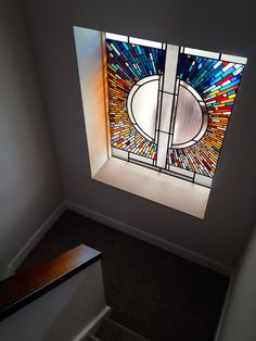 Over master tub Contemporary stained glass, Troon, Scotland, 2015 Stained Glass Designs, Stained Glass Patterns, Stained Glass Art, Stained Glass Windows, Mosaic Glass, Contemporary Stained Glass Panels, Mosaic Mirrors, Mosaic Art, Glass Wall Art