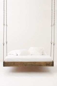 Hanging bed, rustic chains... gorgeous...