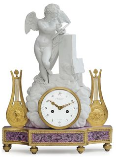 A LOUIS XVI ORMOLU-MOUNTED BISCUIT AND GLAZED PORCELAIN MANTEL CLOCK THE CASE BY GUERHARD DIHL, THE MOVEMENT BY JEAN-NICOLAS SCHMIT, CIRCA 1780 The circular white-enameled Arabic dial signed Schmit/A Paris', the movement with twin barrels with silk suspension and countwheel strike on a bell, within a drum case among clouds, surmounted by a winged putto writing on a slate and leaning against a pedestal, flanked to either side by a lyre with an Apollo mask.