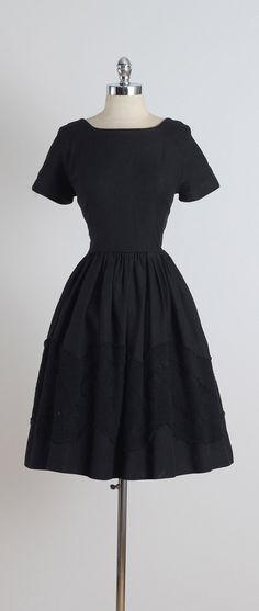 Jonathan Logan ➳ vintage 1950s dress  * black cotton pique * black floral knitted accent on skirt * back bow accent * metal back zipper * by Jonathan Logan