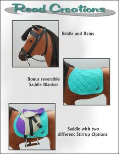 ReadCreations English Saddle pdf sewing pattern designed to fit American Girl doll horses Doll Clothes Patterns, Pdf Sewing Patterns, Doll Patterns, American Girl Doll Horse, American Dolls, Anerican Girl, Diy Ag Dolls, English Saddle, Horse Accessories