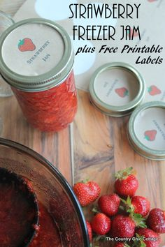 Strawberry Freezer Jam with Free Printable Labels -- get secrets for making great strawberry freezer jam plus some free printable labels fo...