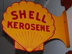 Flanged die-cut sign for Shell Kerosene.