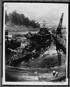 Attack on Pearl Harbor. December wrecked destroyers USS Downes and USS Cassin in Drydock One at the Pearl Harbor Navy Yard, soon after the end of the Japanese air attack. The Naval History and Heritage Command : Pearl Harbor Day, Pearl Harbor Attack, Pearl Harbor 1941, Pearl Harbor Memorial, World History, World War Ii, Uss Pennsylvania, Uss Arizona, Historia Universal