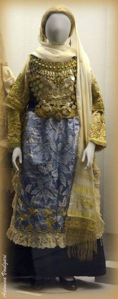 Traditional bridal costume from Avlonas Attica Greece donated to Benaki Museum by Mrs Maria Dakou Greek Traditional Dress, Arabian Costume, Benaki Museum, Attica Greece, Dance Costumes, Greek Costumes, Folk Fashion, Greek Clothing, Folk Costume