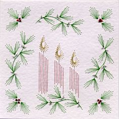 PinBroidery Stitching Cards Candles, holly and mistletoe Square