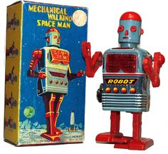 Vintage Tin Wind Up Robot by Marx