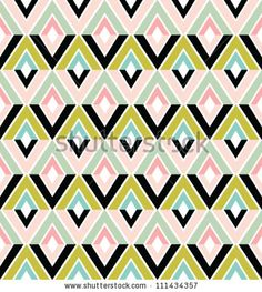 Abstract geometric seamless pattern. Colorful pattern with triangle and lines. - stock vector