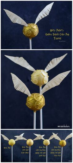 We are having a Harry Potter Party and these Golden Snitch Cake Pops are perfect! I can make a basic pop or add more details for a more intricate design. The instructions to make these are at Pint Sized Baker. (make birthday cake) Harry Potter Treats, Gateau Harry Potter, Harry Potter Fiesta, Cumpleaños Harry Potter, Harry Potter Birthday Cake, Harry Potter Theme Cake, Cupcakes, Cupcake Cakes, Hery Potter