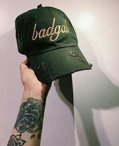 """""""badgal"""" caps in the olive color way now in stock (link in bio to order) Mode Style, Style Me, Dope Hats, Grunge, Bad Hair Day, Adidas, Beanie Hats, Beanies, Fashion Killa"""