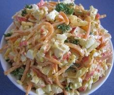Salad with carrot, cheese and crab sticks - Tasty-Meals - Simple recipes for every day Meat Cooking Times, Cooking Recipes, Healthy Recipes, Top Salad Recipe, Salad Recipes, 21 Day Fix, Cooking Mussels, Food 101, Rigatoni