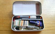 Recycling Altoid Tins. Pefect for dorm room. sewing kit, first aid kit, office supplies