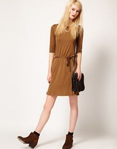 Sessun Jersey Dress with Lurex Tie Belt and Pockets