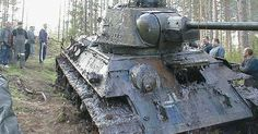 This Russian-built T34 tank was captured by the Germans and marked and used as their own. This one was either stuck during battle or ditched…