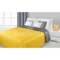 Žltý obojstranný prehoz na posteľ so vzorom kociek