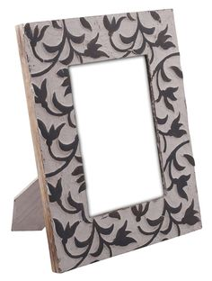 Bulk Wholesale Hand-Carved 5x7 Mango-Wood Photo Frame / Picture Holder with Leafy Pattern in Black & White Color – Antique-Look Home Décor from India