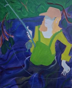 "The Angler  Oil on canvas, 32x26"""