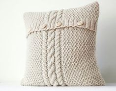 Cable hand knitted pillow cover - ivory decorative pillows case - handmade home . Cable hand knitted pillow cover – ivory decorative pillows case – handmade home decor 01 Crochet Pillows, Knitted Cushions, Sewing Pillows, Knitted Blankets, Red Throw Pillows, Grey Pillows, Linen Pillows, Sweater Pillow, Knit Pillow