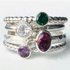 @gizmostreasures  Hydrothermal Emerald (May), Diamond cz (April), 6x4mm Rhodolite Garnet (January)