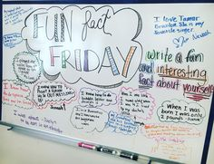 Fun fact Friday -- write a fun and interesting fact about YOU -- whiteboard wisdom Classroom Whiteboard, Whiteboard Friday, Morning Board, Friday Morning, Fun Fact Friday, Morning Activities, Study Tips, Study Hacks, Study Ideas