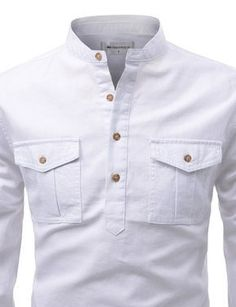 Slim Fit Mandarin Collar Shirt Cotton Henley Neckline 2 Chest Pockets Machine Washable Imported Measurements (cm / inches) Size Shoulder Chest Sleeve Total Length XS 41 99 63 74 S 43 104 64 76 M 45 109 65 78 L African Wear Styles For Men, African Shirts For Men, African Dresses Men, Cool Shirts For Men, Formal Shirts For Men, Nigerian Men Fashion, African Men Fashion, Slim Fit Casual Shirts, Men Casual