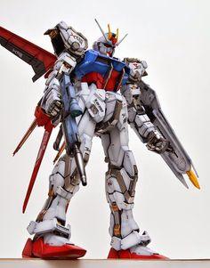 PG 1/60 GAT-X105 Strike Gundam & Skygrasper - Painted Build Strike Gundam, Figure Model, Mobile Suit, Sci Fi Fantasy, Plastic Models, Transformers, Iron Man, Badass, Deadpool