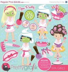 BUY 20 GET 10 OFF Spa girls party clipart for scrapbooking commercial use vector graphics digital clip art images slumber party - by Prettygrafikdesign Planner Stickers, Spa Sale, Image Paper, Girl Clipart, Create Invitations, Digital Scrapbook Paper, Slumber Parties, Sleepover Party, Spa Party