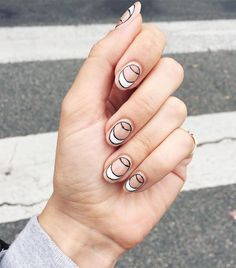 Black and white negative space nail art