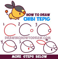 Learn How to Draw Cute Kawaii Chibi TePig from Pokemon and Pokemon Go - Easy Step by Step Drawing Lesson