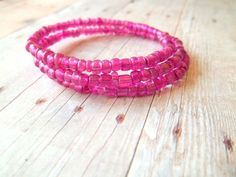 F U S H I A - MINI Bright Fushia Pink Glass Seed Bead Silver Memory Wire Wrap Bangle Bracele