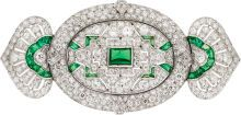 Art Deco Diamond, Emerald, Platinum Brooch, Lacloche Frères  The brooch features European-cut diamonds weighing a total of approximately 7.55 carats, accented by single-cut diamonds weighing a total of approximately 1.05 carats, accented by emerald and baguette-shaped emeralds weighing a total of approximately 1.85 carats, set in platinum, completed by a pinstem and catch on the reverse, marked Lacloche, Paris.1920s-30s.