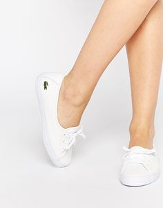 Shop Lacoste Ziane Chunky Leather Slip On Trainers at ASOS. Slip On Trainers, Slip On Sneakers, White Sneakers, Shoes Sneakers, Lacoste Shoes Women, Lacoste Sneakers, White Slip On Shoes, White Leather Shoes, Ballerinas