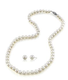Bridesmaid gift idea. Pearl necklace and earring set from @pearllaguna Buy Here: https://www.lagunapearl.com/6-0-6-5mm-japanese-white-akoya-pearl-necklace-earrings.html